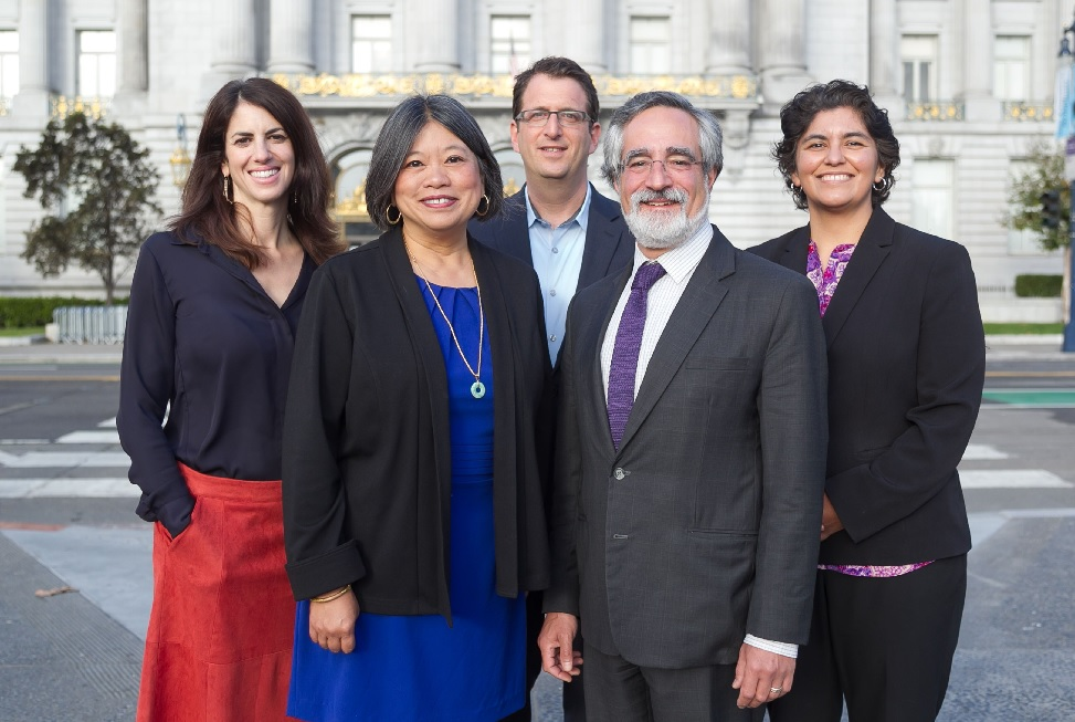 Hillary Ronen, Sandra Lee Fewer,Dean Preston, Aaron Peskin, and Kimberly Alvarenga, along with Norman Yee (not pictured) are out choices to keep the progressives in control at City Hall